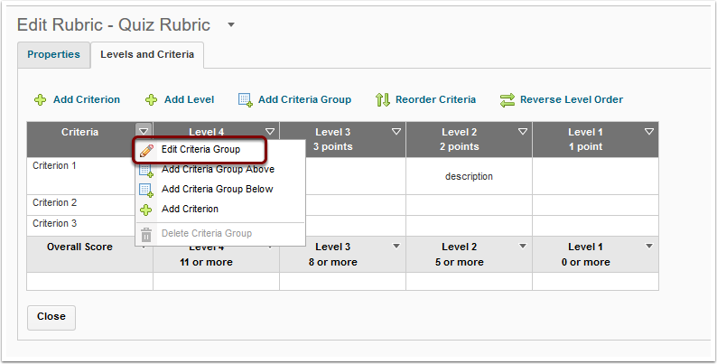 Rubrics for feedback and grading teaching in desire2learn editing an analytic rubric ccuart Image collections