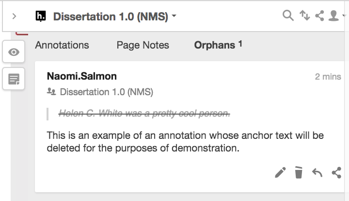 """Orphans"" section of annotation layer"