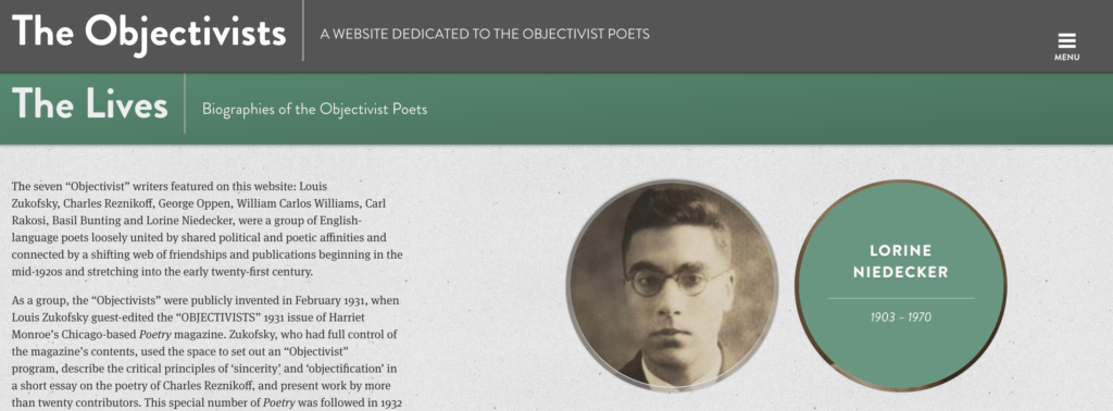 Image of a website landing page with a text description of the project on the left and a series of interactive links to each poet on the right