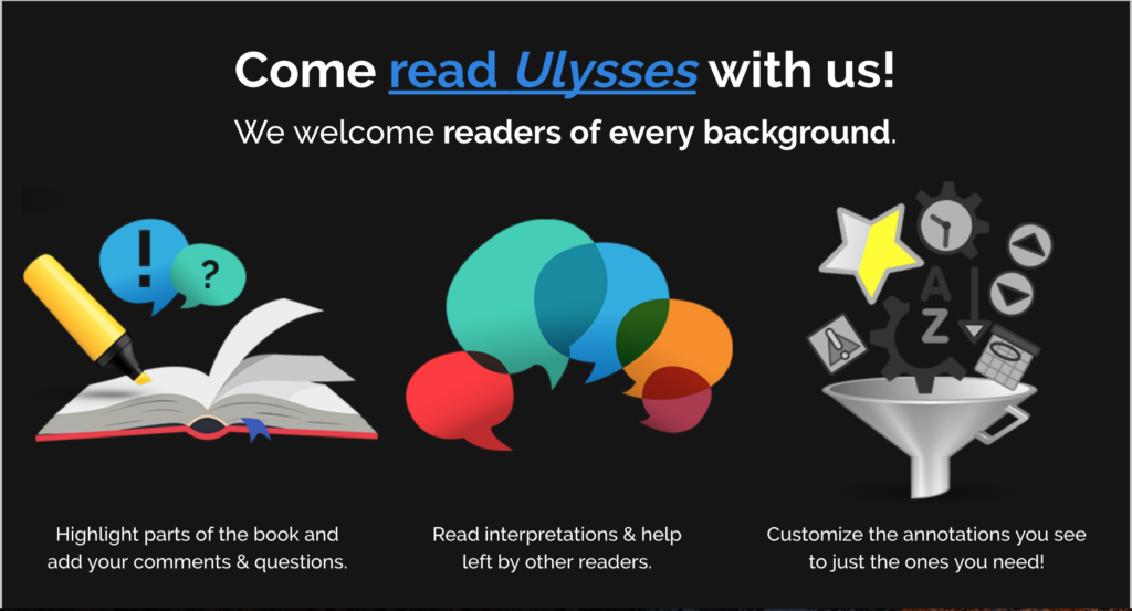 """Screenshot of Amanda Visconti's project homepage. The main text feature reads """"Come read Ulysses with us! We welcome readers of every background."""""""