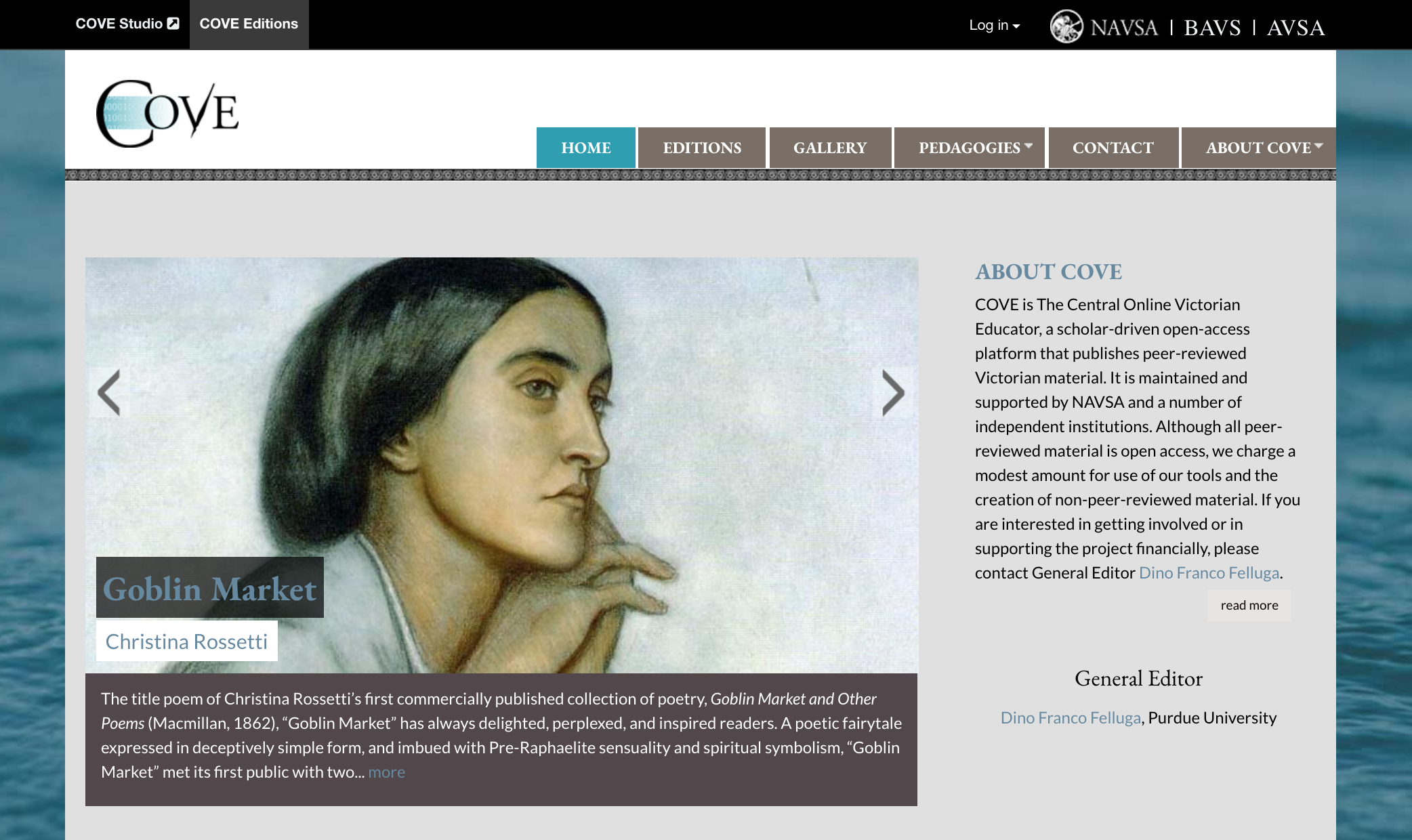 The COVE website's landing page
