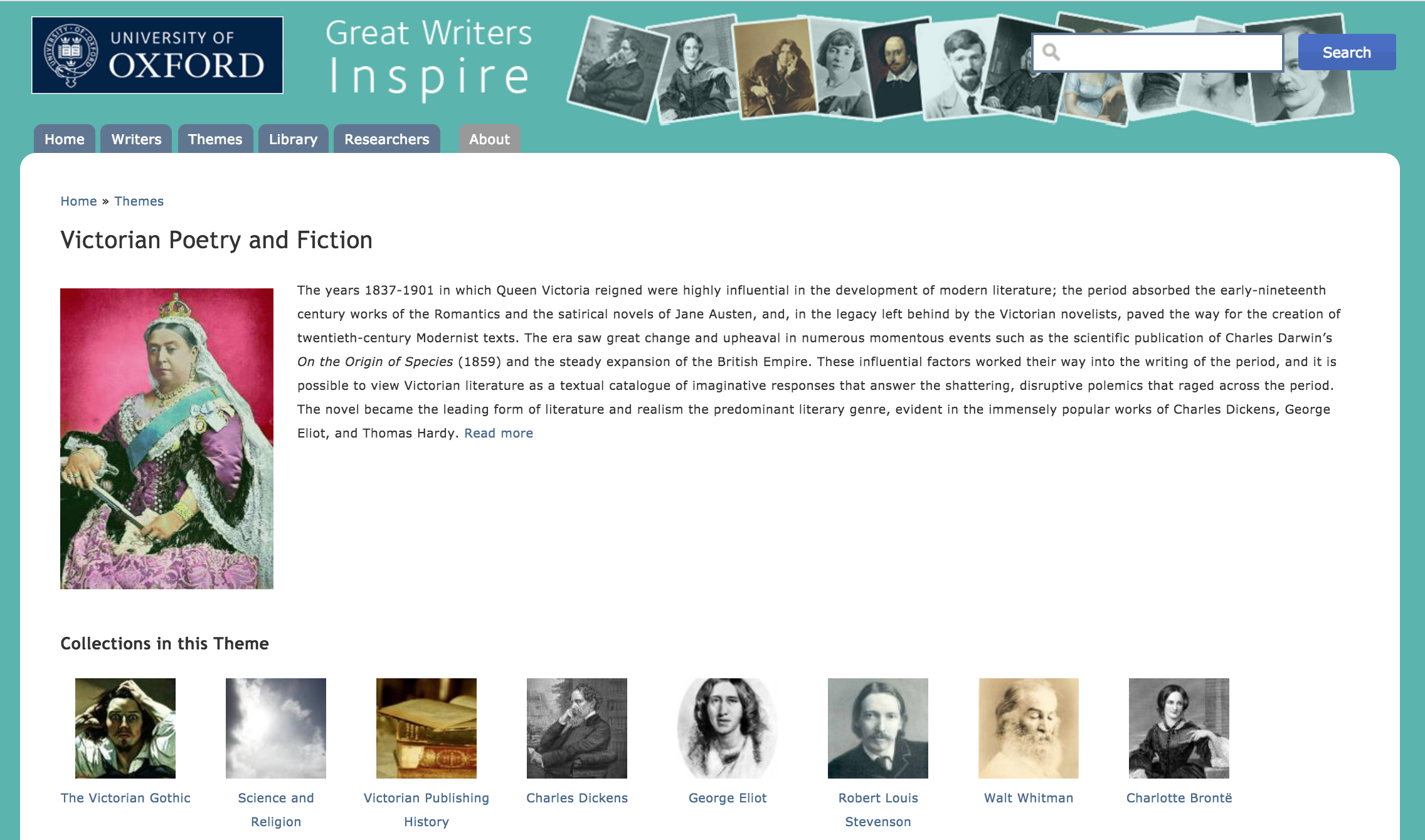 Home Page of the Great Writers Inspire section on Victorian Poetry and Fiction