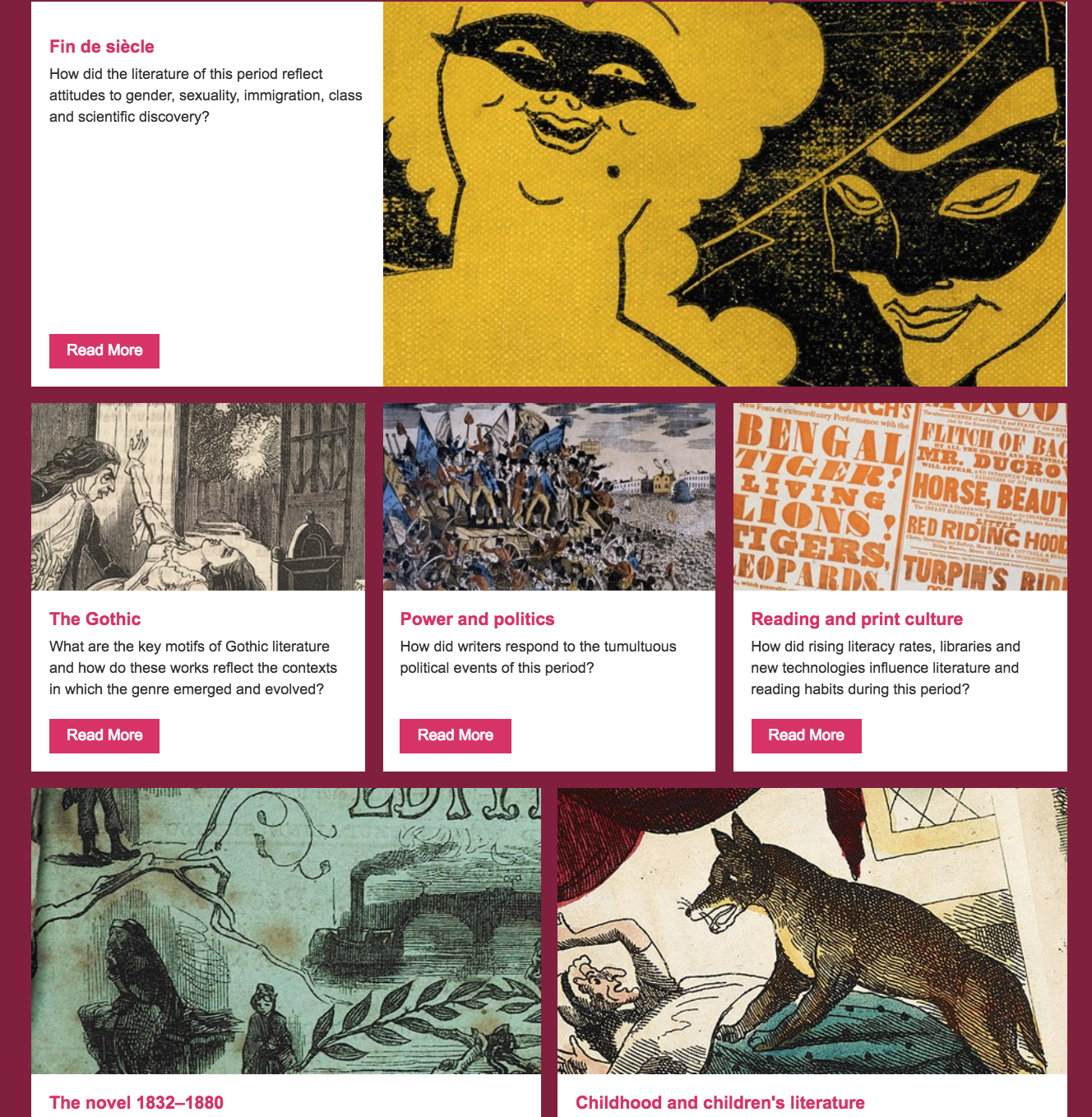 Screenshot of a series of current resource offerings in the collection