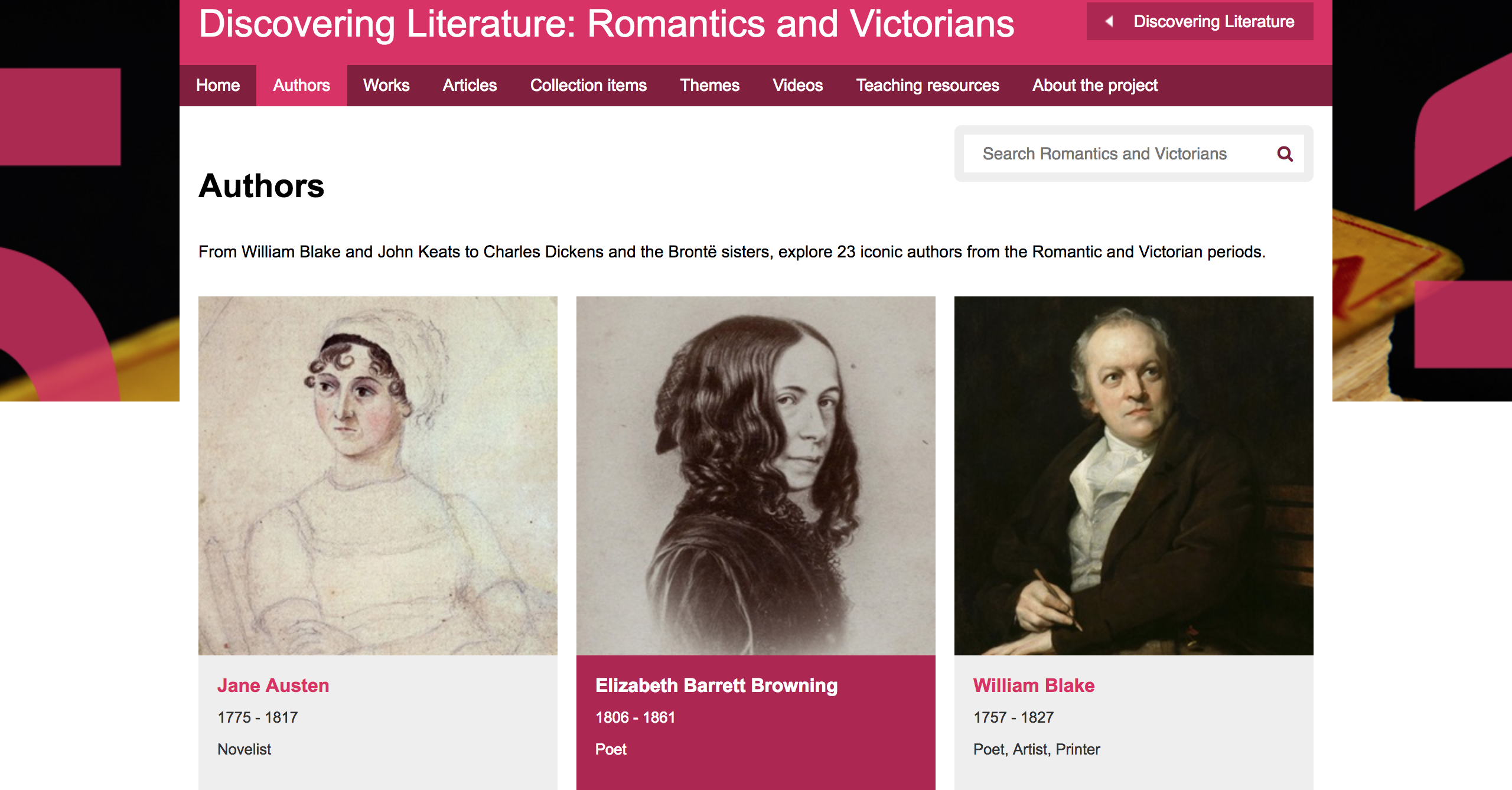 Image of the Romantic and Victorian Authors page. The three authors visible are Jane Austen, EBB, and William Blake