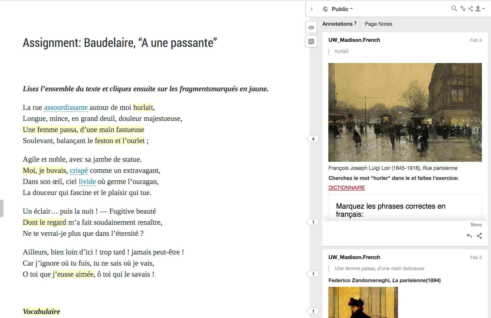 Image of a Pressbook created for the UW French department (link in text). There is a Hypothesis annotation pane activated on the right.