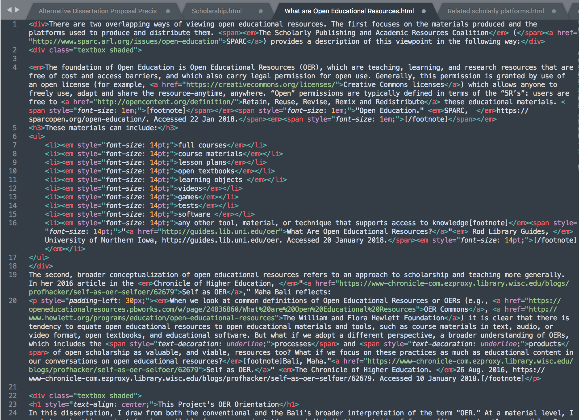 """screen shot of the full html code used in my """"What are OER?"""" section of this document"""