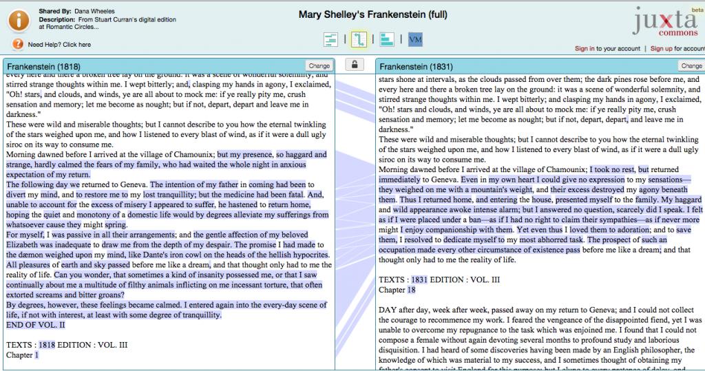 screenshot of Frankenstein edition comparison on the Juxta Commons website - Return to Chamounix