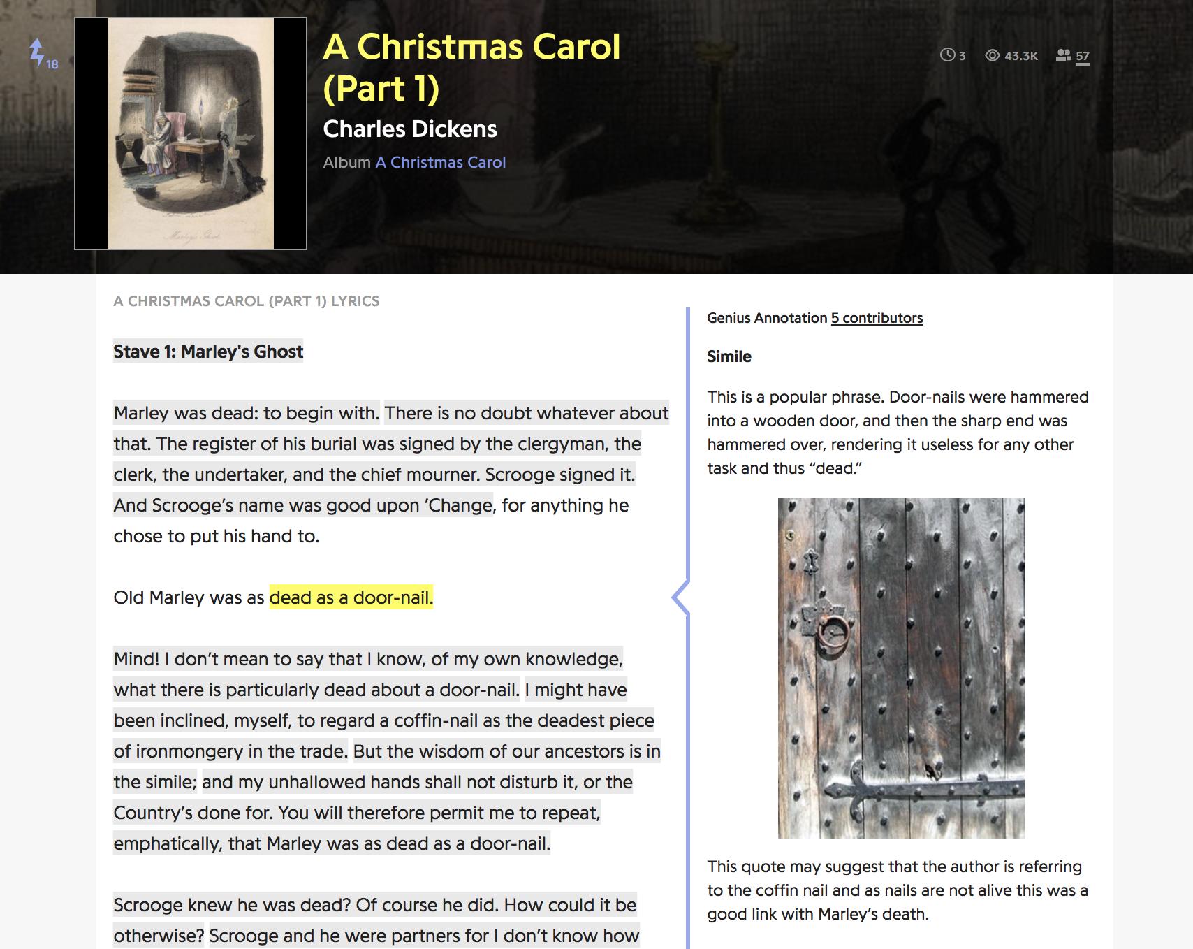 """screenshot of a genius.com annotation page for Dickens's """"A Christmas Carol"""""""