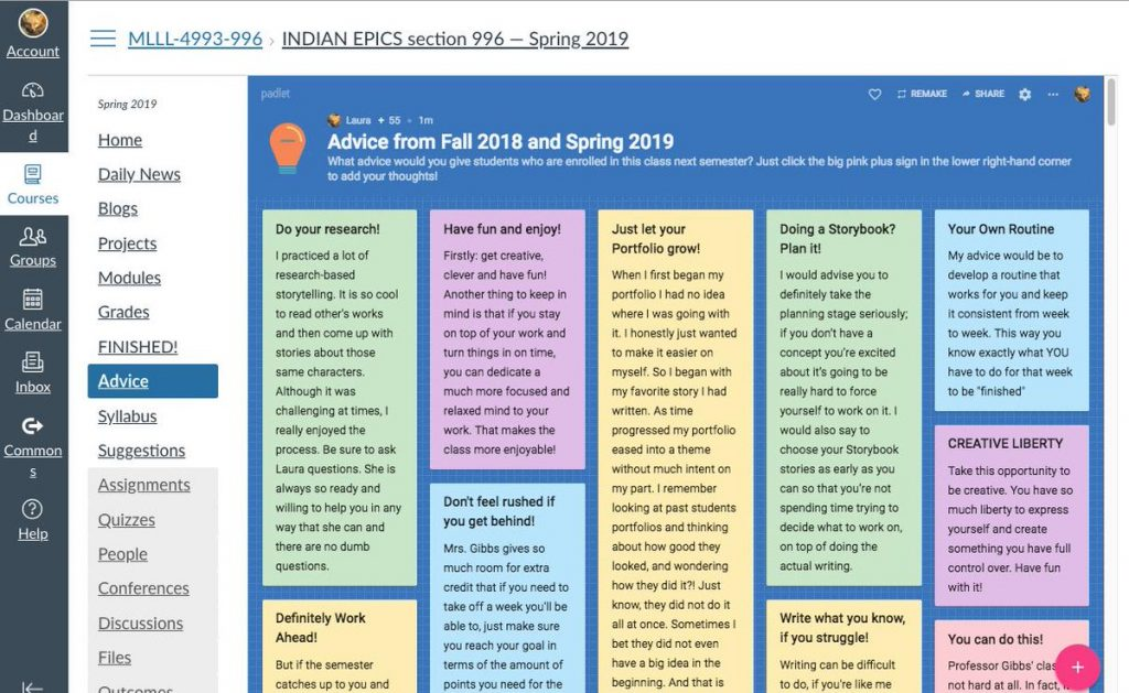 Padlet embedded into a Canvas page and filled with snippets of advice from students to other students