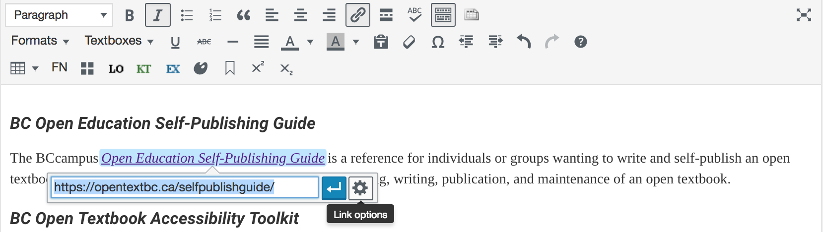 screenshot of editing dropdown for links - features gear icon to access link settings