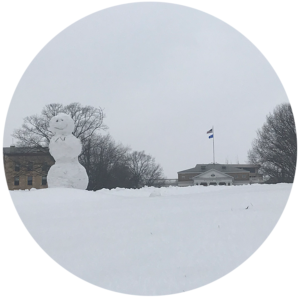 snowman sitting on Bascom hill