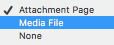 "screenshot of the dropdown ""attachment page, Media file, or none"" options that appear when you upload an image"