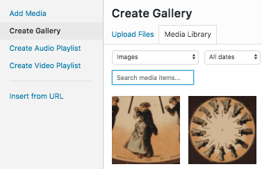 "The top-left corner of the ""add media"" screen featuring the ""Create Gallery"" sidebar option"