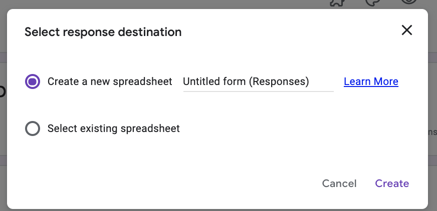 "options are ""select response destination"" or ""select existing spreadsheet"""