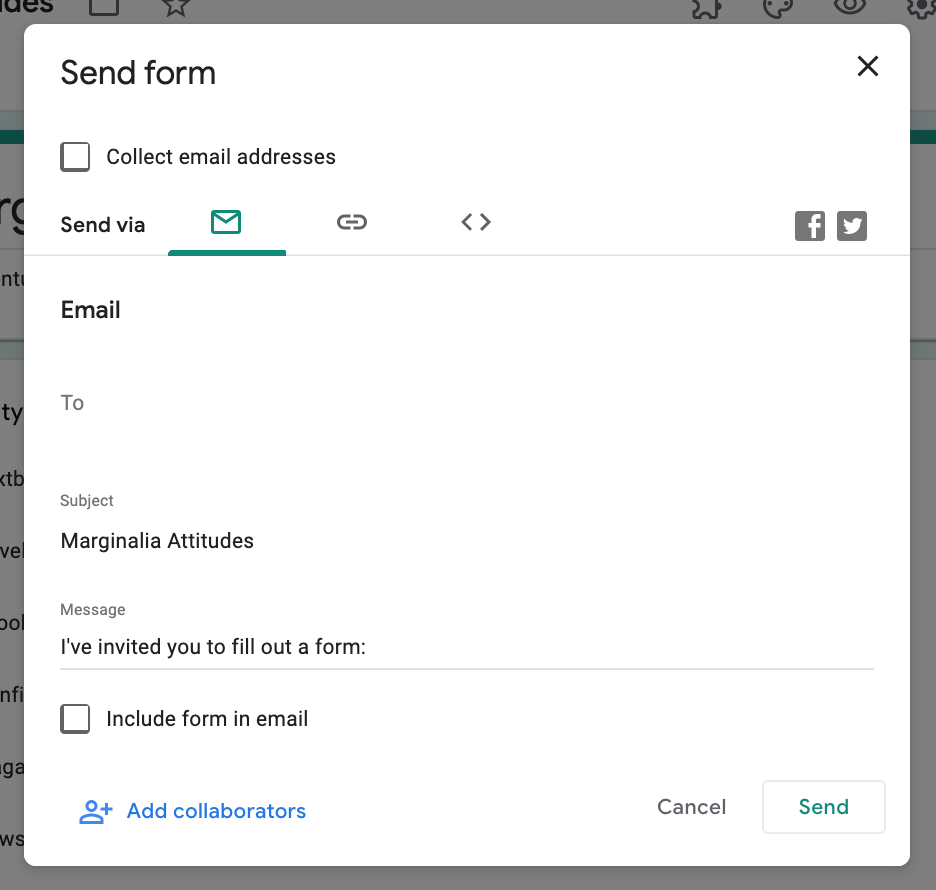 "Google Forms ""Send Form"" screen"