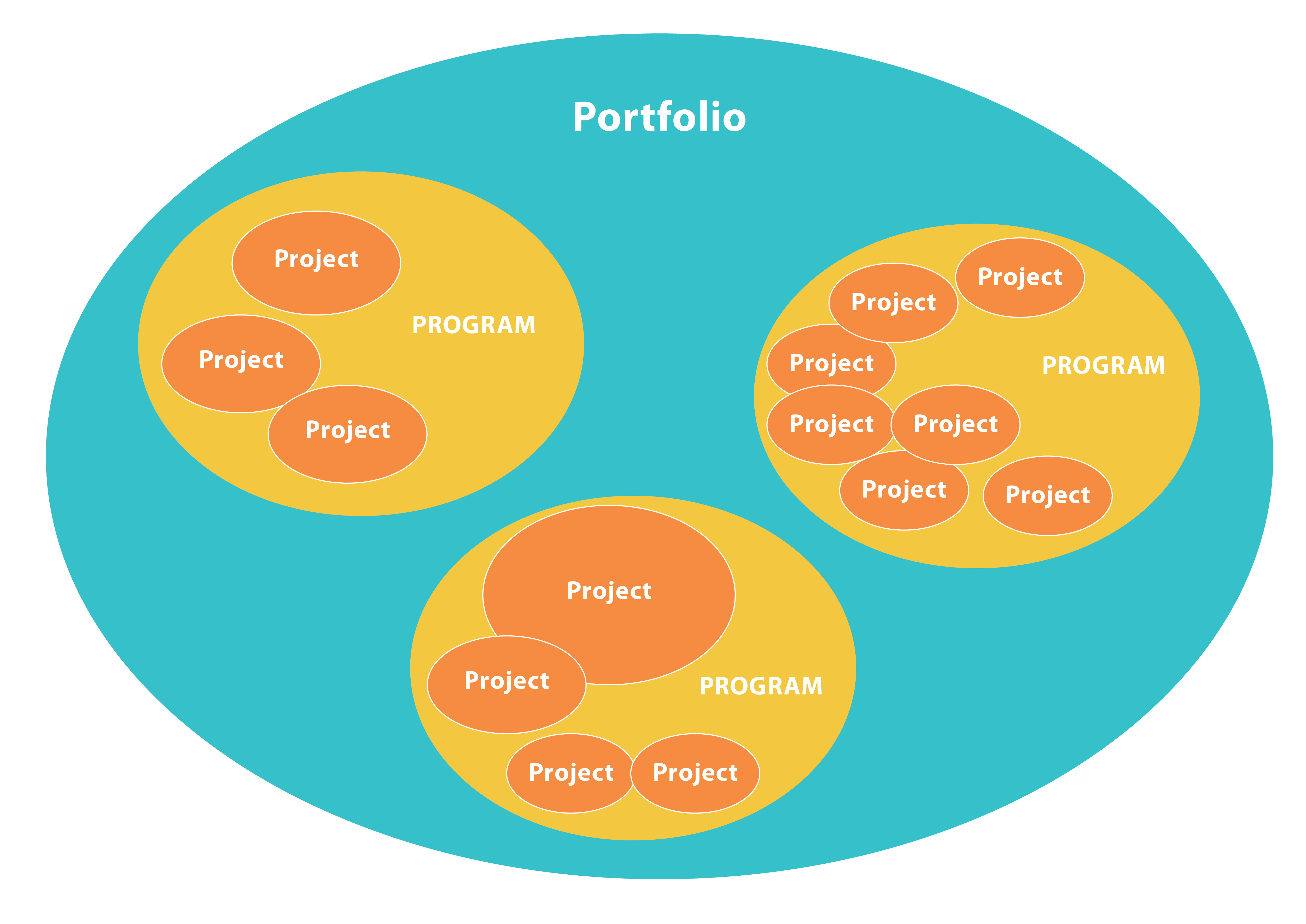 "This diagram contains a large circle named ""portfolio."" Inside of that circle are three smaller circles with the word ""Program"" in each one. Inside of those programs are varying numbers of ""project"" circles."