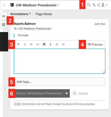 Hypothesis annotation pane editor - a box with viewing buttons at the top (1) the annotator's name and the text that is being annotated (2) and an editing entry pane (3, 4, 5, and 6)