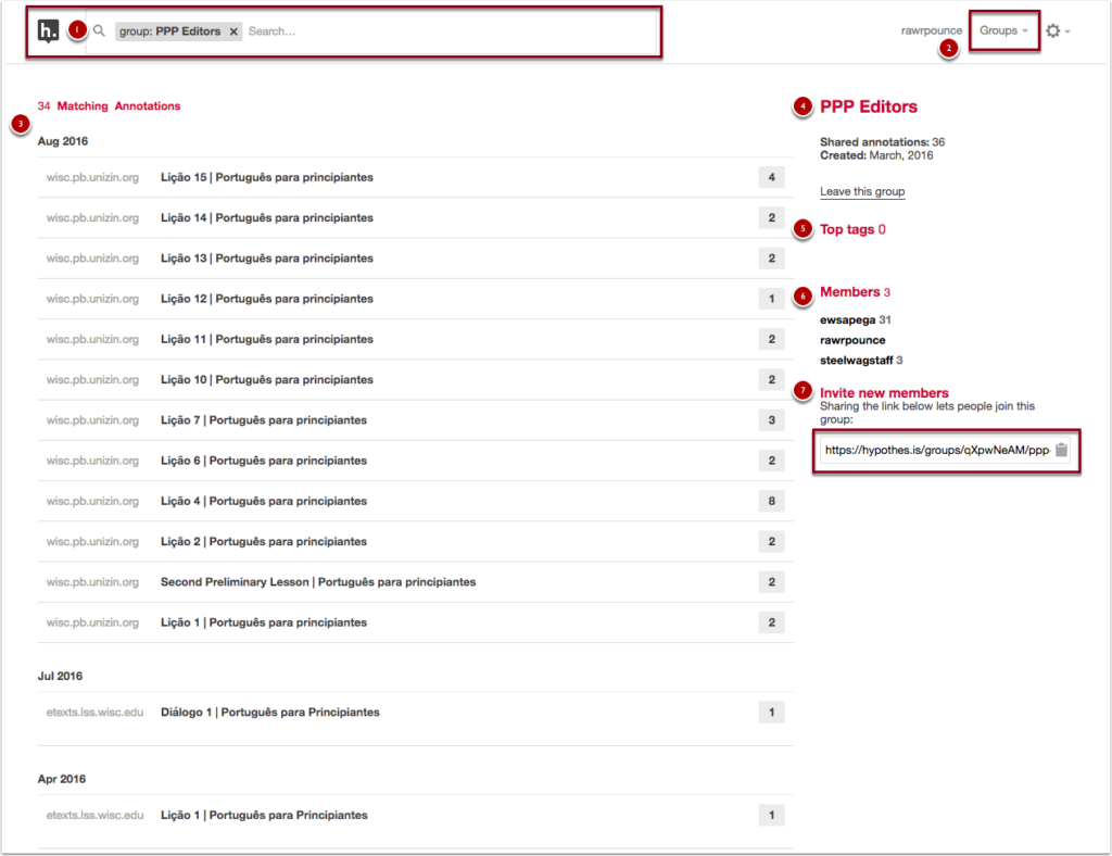 group name featured at top of page, list of annotations at center of page, tags and contributors listed at right of page