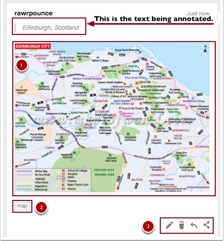 Annotation includes a light grey duplicate of the text being annotated. Below it, the annotation has a map of Scotland (labeled #1), a customizable item tag (labeled #2), and trash/edit/embed options (labeled #3)