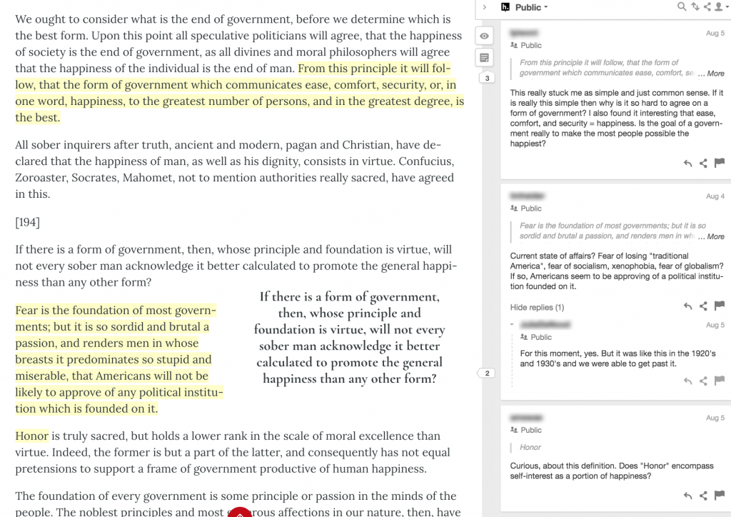 Yellow highlights and active student comments bar in a political science Pressbooks textbook.