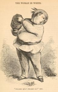 "A rotund man plays a small accordion. Caption reads ""Figaro qua! Figaro La! Etc."""