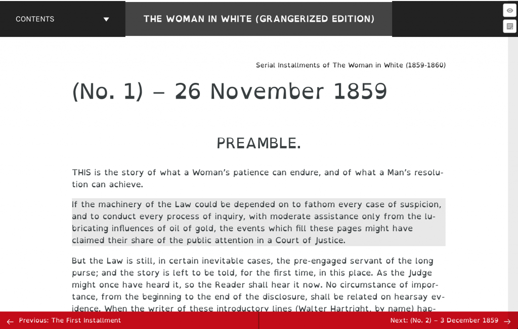 Screenshot of the first chapter viewed using the Open Dyslexic font Chrome plugin.