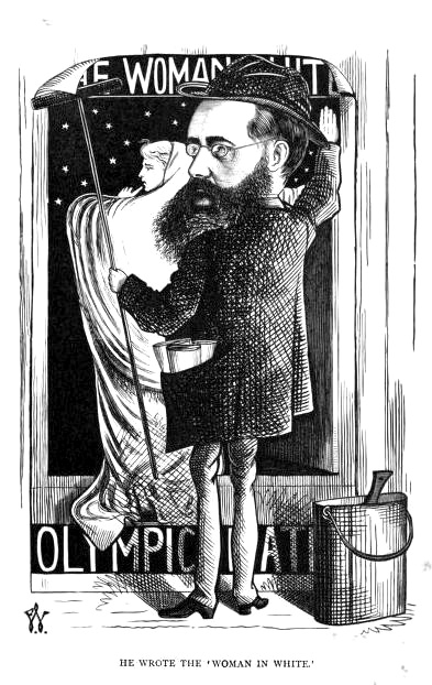 Illustration of Collins pasting a theater poster to a wall. The poster features a woman in white on it and is taller than he is.