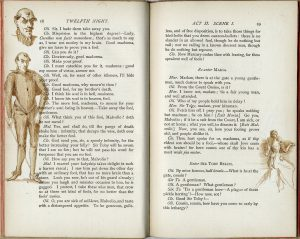 printed pages of the text feature overlapping ink-wash illustrations of a man with a sword and a woman in a gown