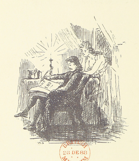 "illustration of a man in a chair holding a book that says ""THE END"" on the page while a beautiful woman leans over his chair to see."