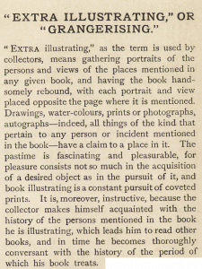 "First paragraph of 1903 ""Extra Illustrating"" article describes adding watercolors, drawings, prints, and photos to texts."