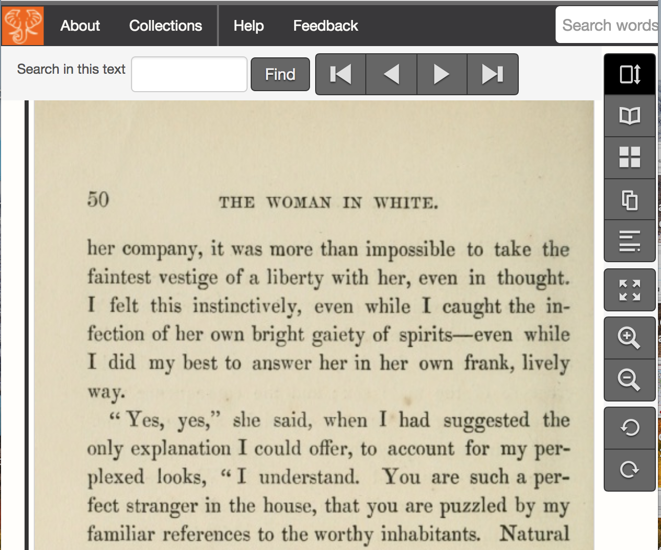 Screenshot featuring a page in the book and navigation options
