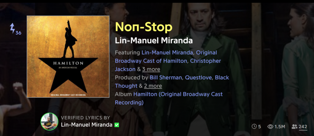 "Genius.com header album art for ""Non-Stop"" by Lin-Manuel Miranda"