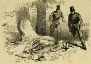 A woman in a bonnet swoons on the grass next to a small empty box as two surprised-looking men in top hats look down at her.