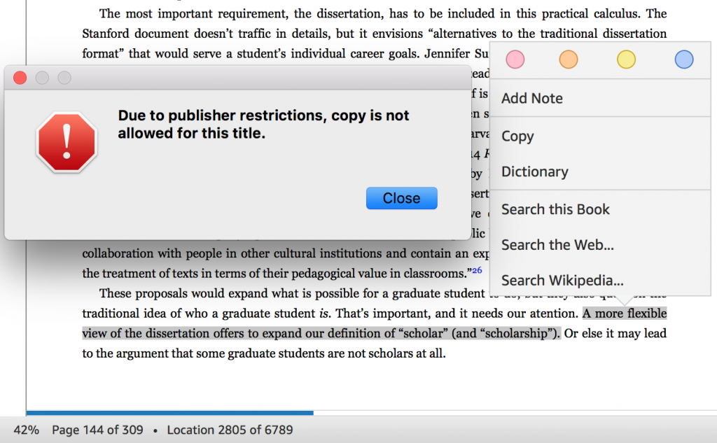 "Error message reads ""Due to publisher restrictions, copy is not allowed for this title."""