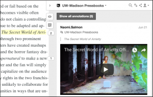 "screenshot of web version of this text with the movie title ""The Secret World of Arrietty"" highlighted section on the left and an annotation on the right that contains the video trailer for that movie."