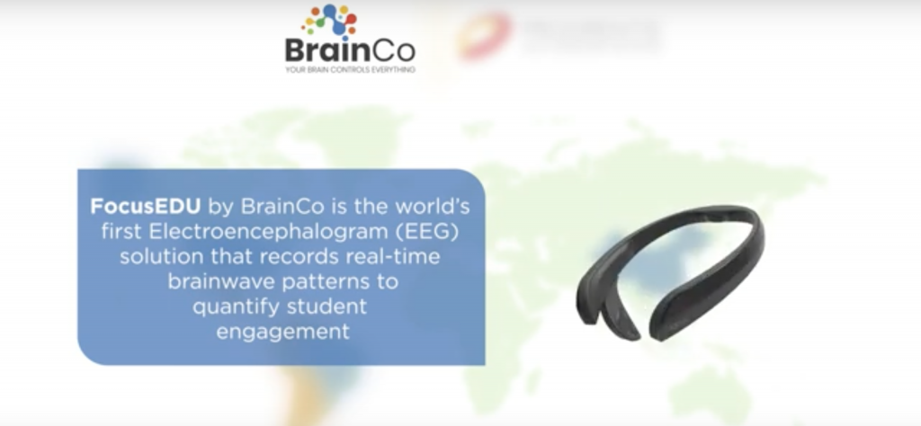 Screenshot of BrainCo video ad featuring an EEG headband: a wraparound plastic band with two larger probe bulbs at either end.