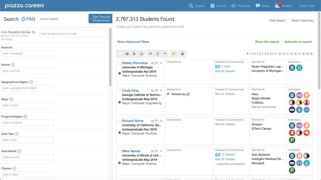 Piazza Careers search menu tells companies that it has over million students and provides search parameters like region, major, minor, and classes.