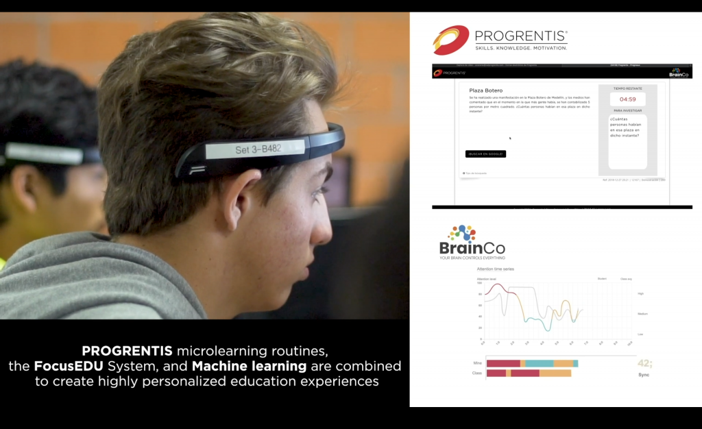 Promotional material featuring a student wearing the EEG headband over his forehead while a graph appears to be measuring his brainwaves.