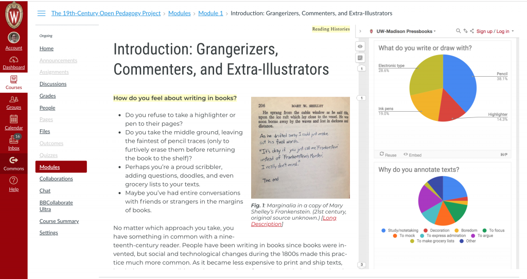 The introductory chapter of the interactive critical edition embedded in canvas. The annotation layer is displayed with a reader poll inside.