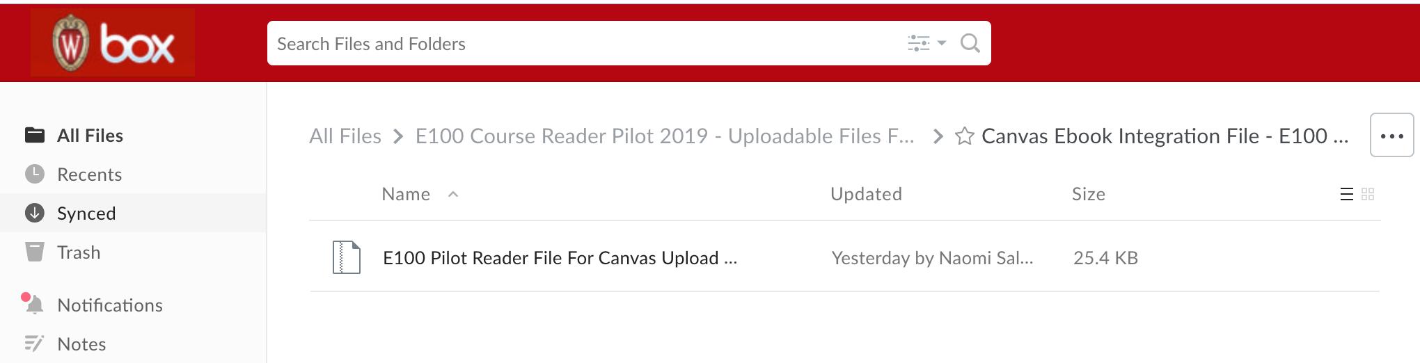 screenshot of BOX folder containing a single Zip file--the E100 course reader zip file