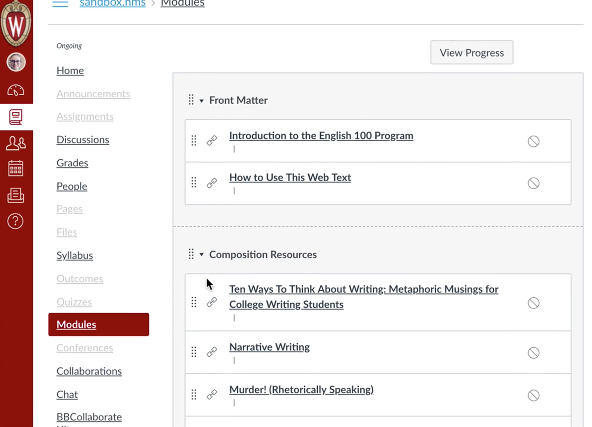 Pressbooks readings uploaded as unpublished module entries in Canvas