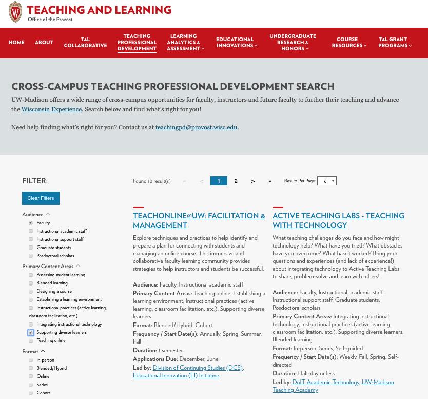 Screenshot of Teaching PD website