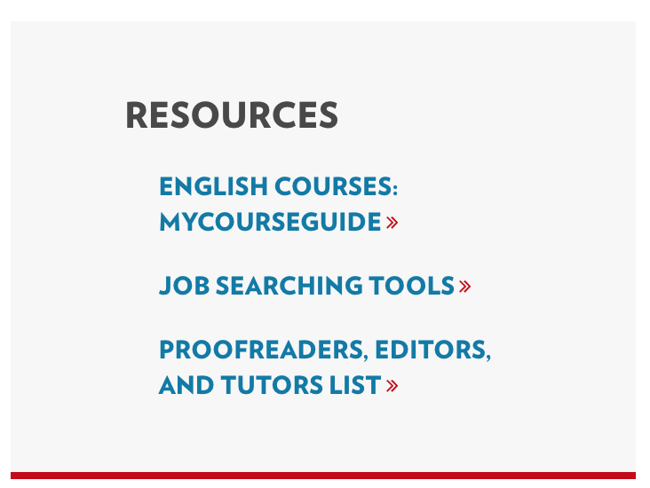 Screenshot of resources section of English department homepage