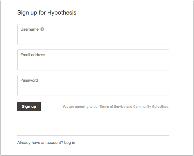 Sign-up window for Hypothesis requires a username, email address, and password.