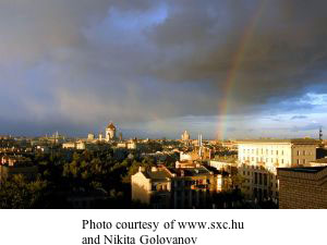 Moscow with a rainbow