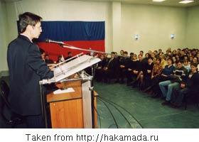 Irina Khakamada speaking to a group