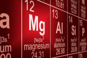 Detail of a partially blurred periodic table of the elements. Focus on magnesium