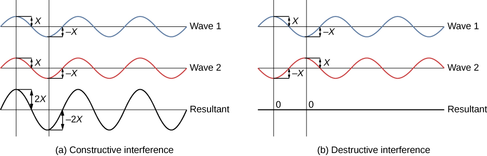 """This image has two parts. On the left side (part A), there are three horizontal lines. Wave 1 is plotted on the top line, Wave 2 is plotted on the middle line, and the Resultant wave is plotted on the bottom line. Waves 1 and 2 are aligned so that the peaks and troughs line up perfectly. The amplitude of Wave 1 is labeled as """"x"""" and the amplitude of Wave 2 is labeled as """"x"""". The resultant wave has an amplitude labeled as """"2x"""" because the amplitudes add together. On the right side of the figure (part B), there are the same three horizontal lines with waves labeled """"Wave 1"""", """"Wave 2"""" and """"Resultant"""". In this part, however, the peak of Wave 1 (with amplitude """"x"""") is aligned with the trough of Wave 2 (with amplitude """"-x""""). The resultant wave therefore has an amplitude of 0 when the waves are added together."""
