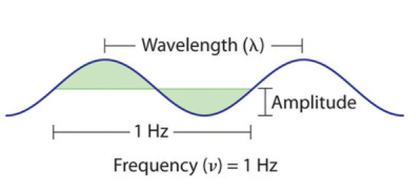 A wave is shown. The wavelength is labeled as the distance between two peaks of the wave. The amplitude is labeled as the distance from the trough of the wave to the point halfway between the peak and the trough. And the frequency is labeled as 1 Hz and spans an entire wavelength, indicating that 1 wavelength passes in 1 second, giving a frequency of 1 Hz.