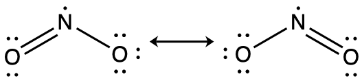 A diagram is shown that is made up of two Lewis structures connected by a double ended arrow. Each structure has a nitrogen in the middle with an oxygen atom on either side. In the left structure, there is a double bond between the nitrogen and the left oxygen, and a single bond between the nitrogen and the right oxygen. In the structure to the right of the arrow, there is a single bond between the nitrogen and the left oxygen and a double bond between the nitrogen and the right oxygen. Lone pairs on the oxygen atoms are placed so that each has an octet. There is a single lone electron on the nitrogen atom in both structures.